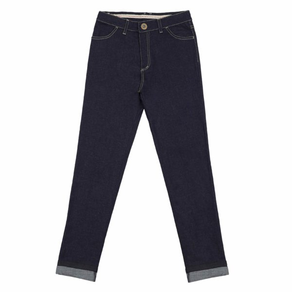 Jean élégant en toile denim bleu brut coupe slim pour petites filles de 2 à 14 ans de la marque mode enfant LA FAUTE A VOLTAIRE