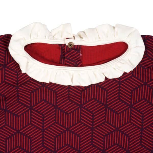 Tee-shirt à manches longues en coton jersey couleur prune à motifs géométrique bleu marine, col et manches à froufrou blanc. Mode fille rétro-chic de 2 à 14 ans de la marque pour enfant française en commerce équitable LA FAUTE A VOLTAIRE