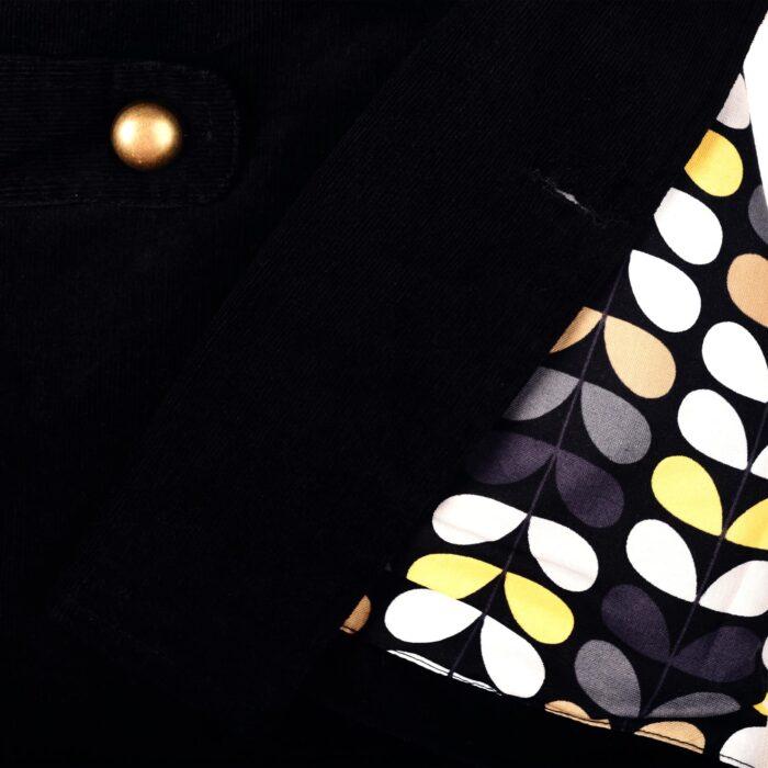 Veste caban velours noir boutonnage croisé boutons dorés pour filles de 2 à 12 ans