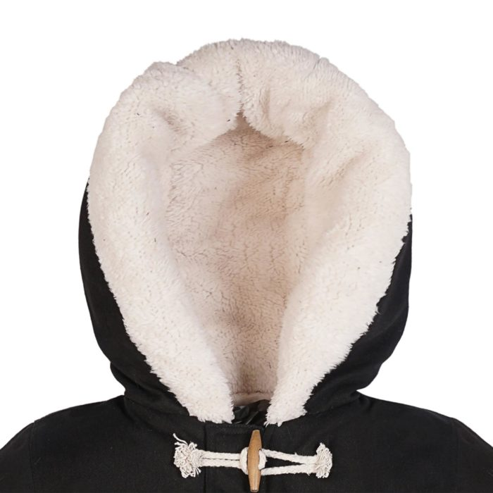 Blouson hiver en coton noir et doublure blanche imitation mouton avec poches et capuche pour garçons de 2 à 12 ans. La Faute à Voltaire, marque créateur française pour enfants en commerce équitable.