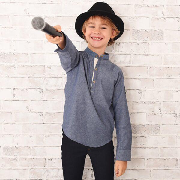 chemise en jean denim bleu clair avec col Mao et manches longuues, fermeture bouton pression, pour garçon de 2 à 12 ans
