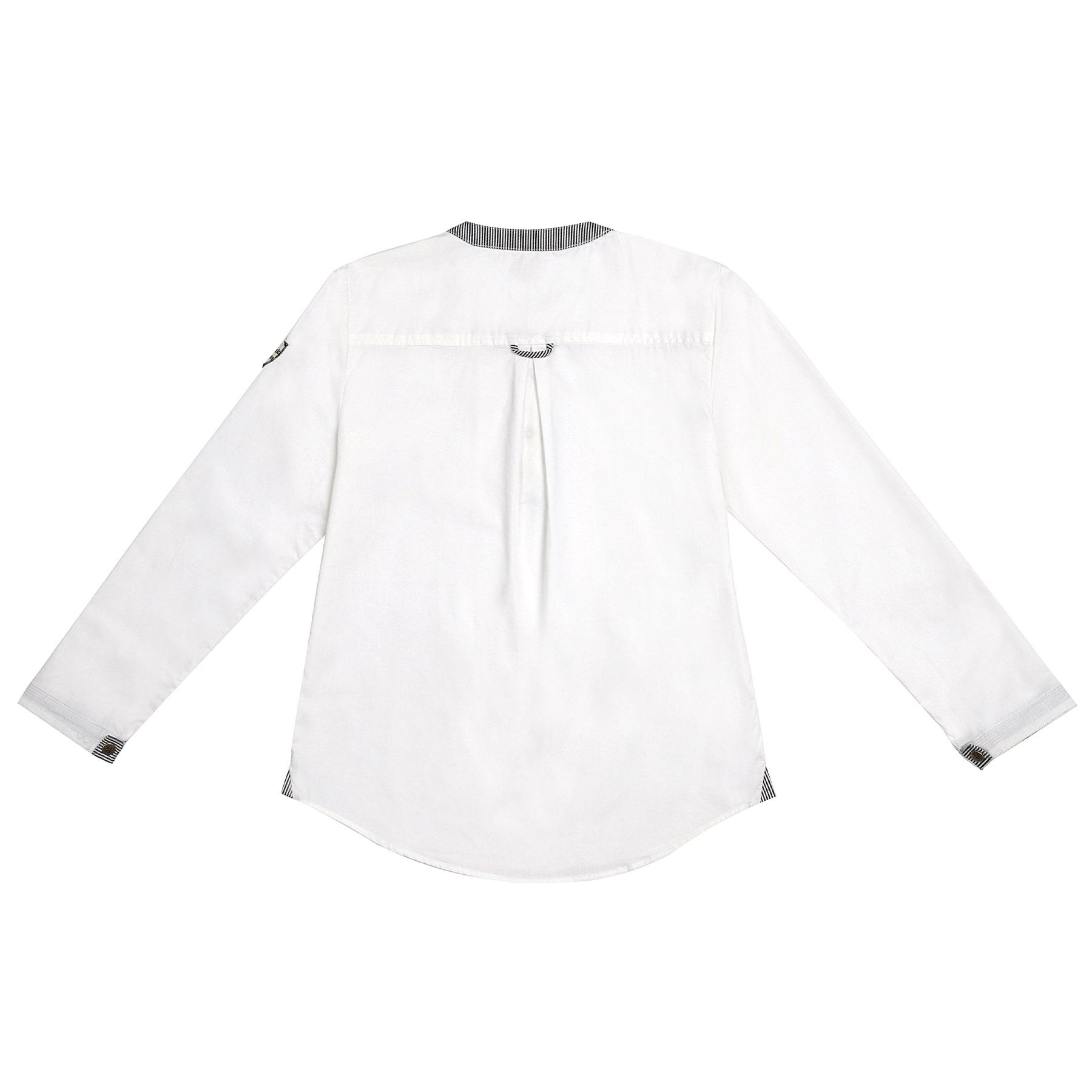 chemise blanche à manches longues et col Mao en denim rayure bleu foncé et beige pour garçons de 2 à 14 ans