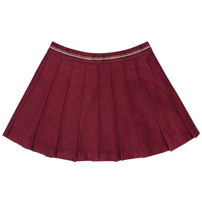 girl burgundy school uniform skirt