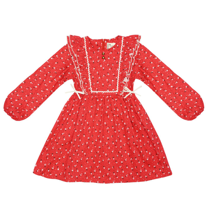 Girl red floral liberty special Christmas dress with ruffles
