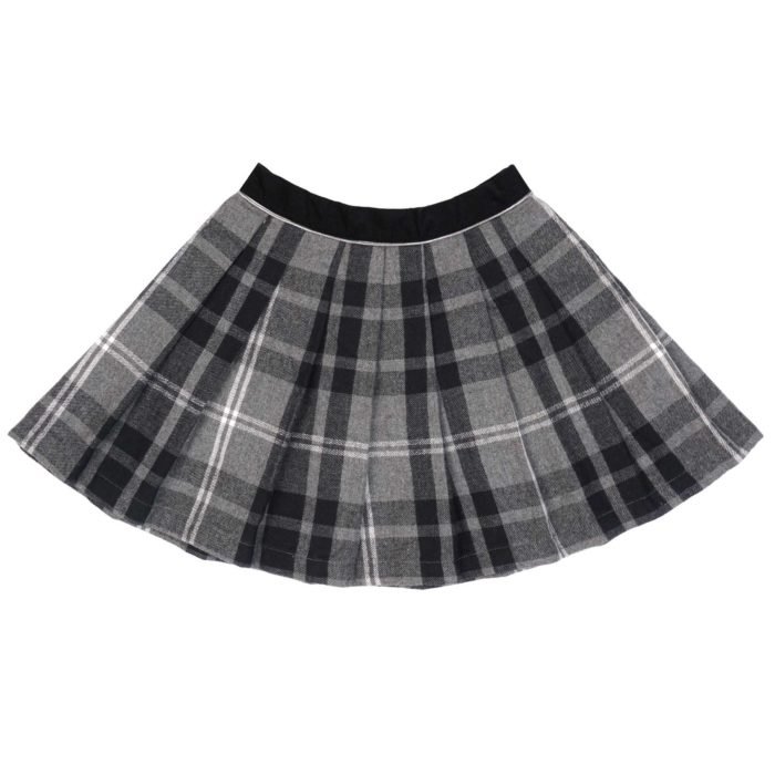 Grey checks pleated Scottish skirt for girls from 2 to 14 years old. design by the French fair trade kidwear brand LA FAUTE A VOLTAIRE