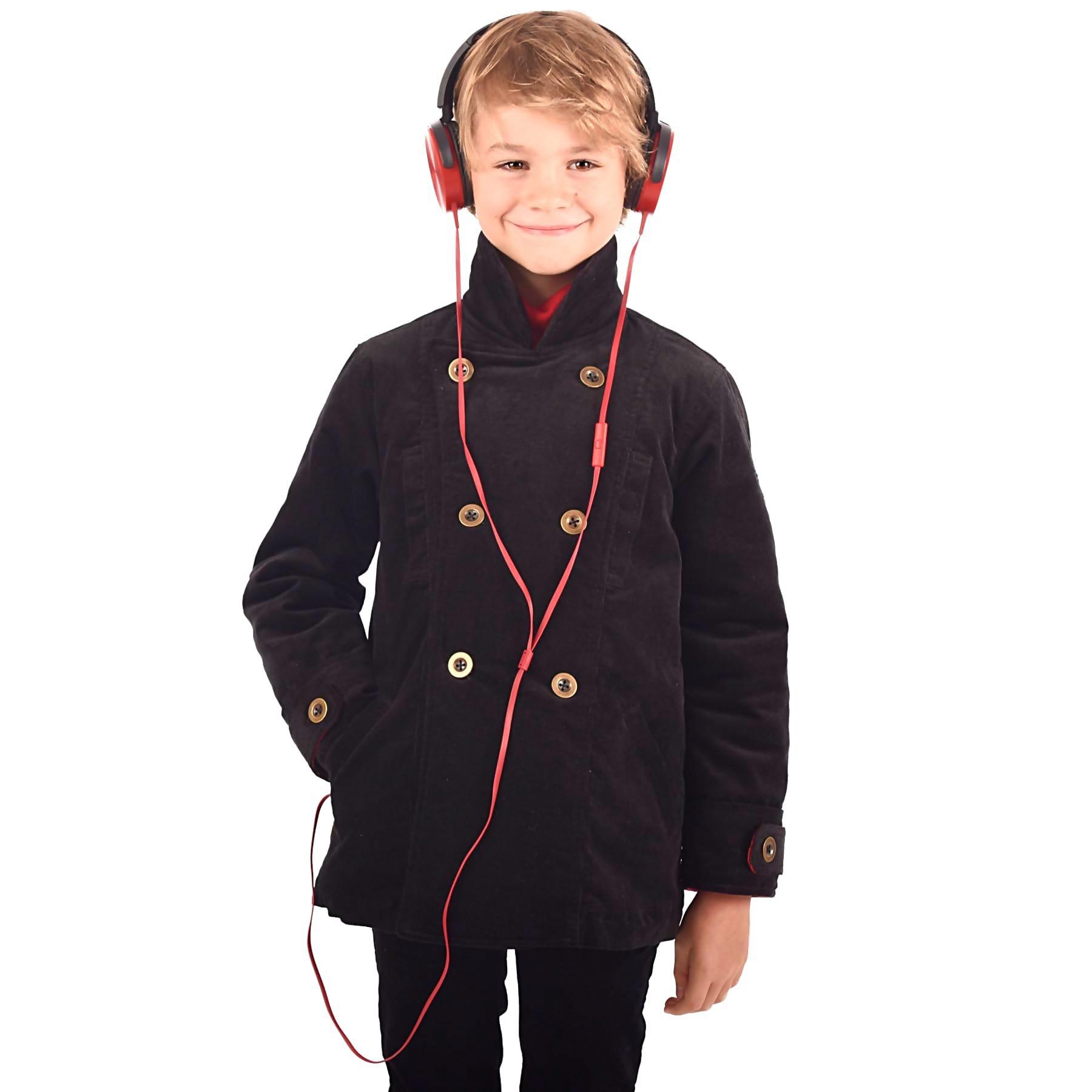 Manteau caban unisexe en velours noir, avec poches, martingale dans le dos et doublure en coton tartan rouge pour filles et garçons de 2 à 12 ans. La Faute à Voltaire, marque créateur française pour enfants en commerce équitable.
