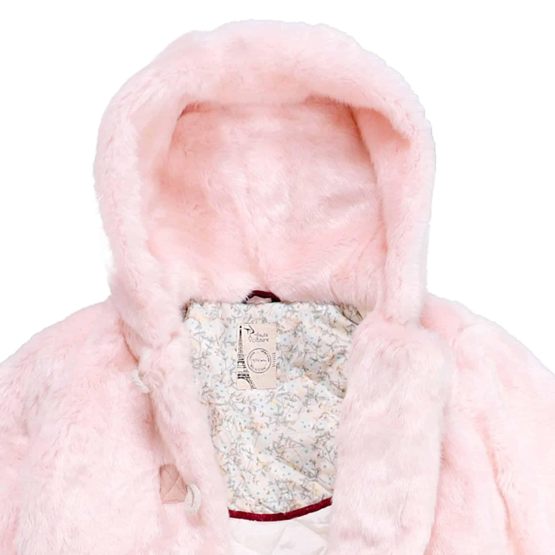 Manteau fille fausse fourrure rose