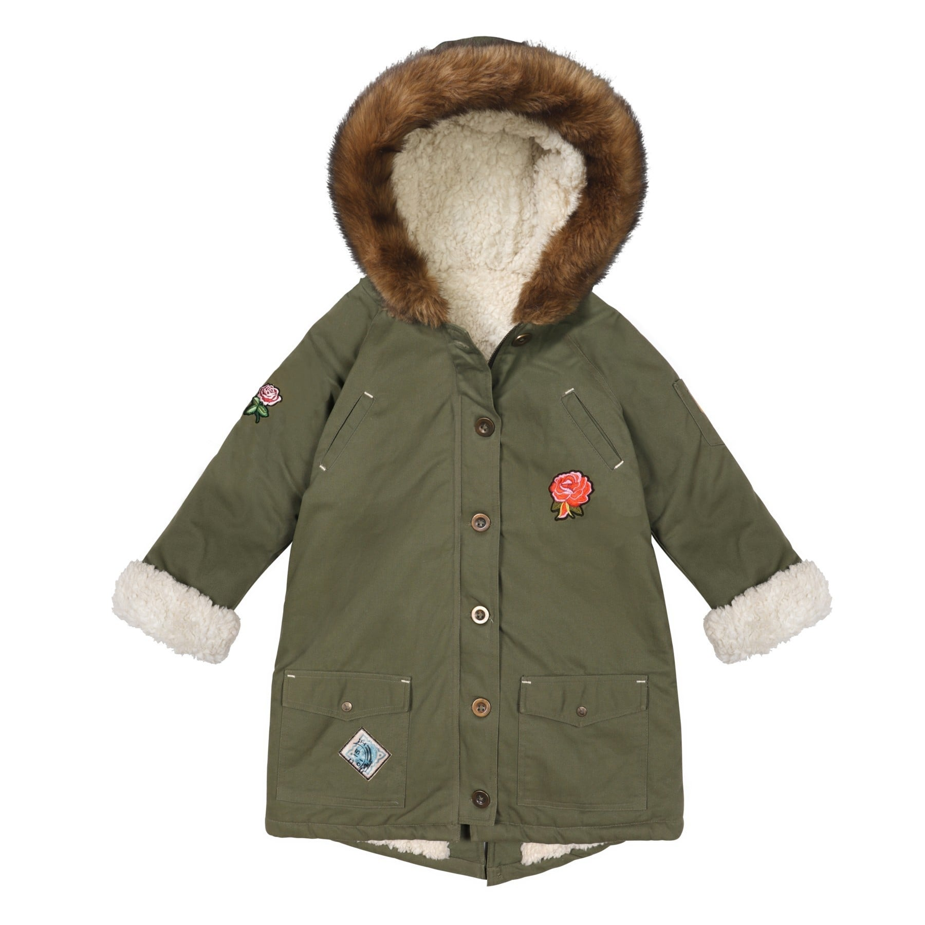 parka-longue-manteau-fille-hiver-kaki-ecusson-protection-animal-shepherd-mode-ve?tement-enfant-long-kaki-min