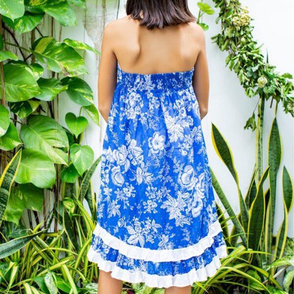 Robe d'été longue et ample bleu à fleurs blanches à col V et dos nu pour filles de 2 à 14 ans