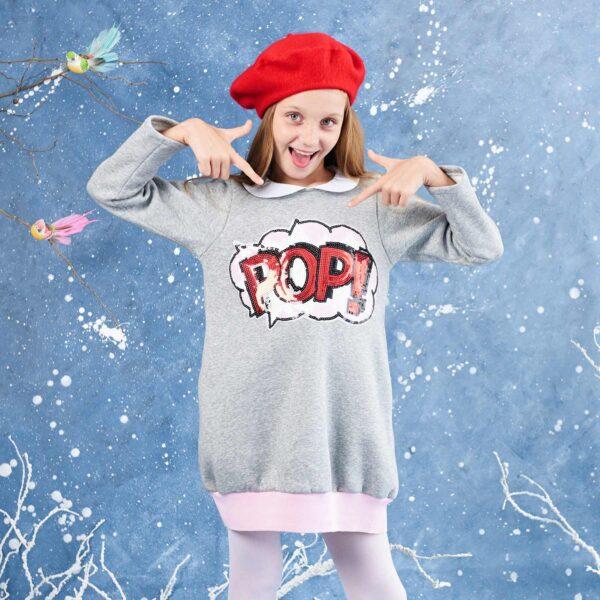 robe sweat-shirt en molleton gris souris, col Claudine blanc, écusson rouge, rose et blanc avec inscription POP pour petites filles et ado de 2 à 16 ans. Marque Française mode enfant LA FAUTE A VOLTAIRE