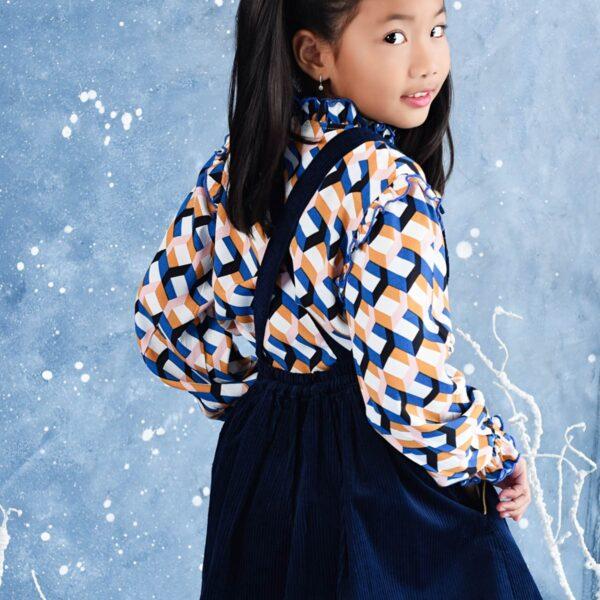 robe salopette bleu marine en velours pour petites filles de la marque de mode pour enfant en commerce équitable LA FAUTE A VOLTAIRE