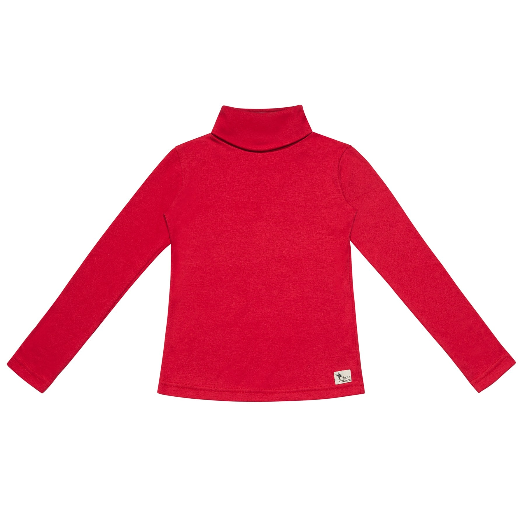 Sous pull col roulé rouge tout doux pour filles et garçons de la marque de mode pour enfant en commerce équitable LA FAUTE A VOLTAIRE