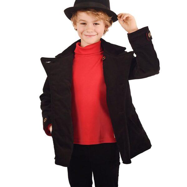 Mode rétro chic pour enfant avec jupe plissée en carreaux tartan gris et sous pull contrasté rouge de la marque de mode pour enfant française LA FAUTE A VOLTAIRE