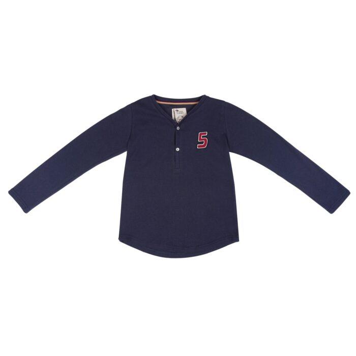 tee-shirt bleu marine à manches longues et col V en coton jersey très doux de la marque de mode pour enfant en commerce équitable LA FAUTE A VOLTAIRE