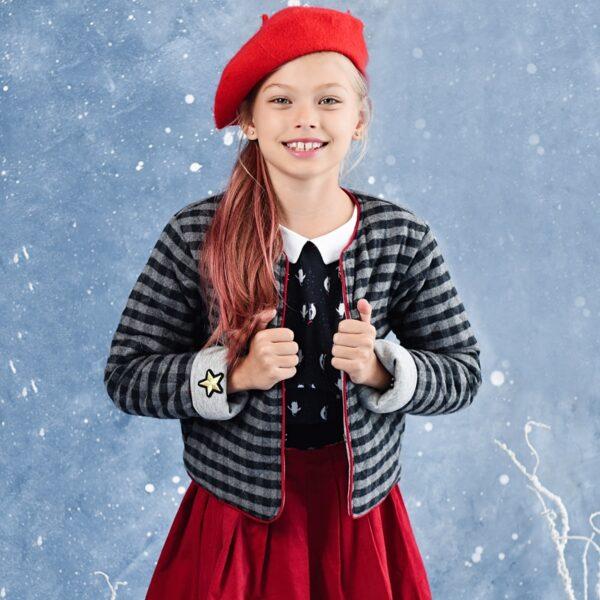 veste cardigan style collège américain en laine carreaux gris anthracite et gris clair pour petites filles de 2 à 12 ans de la marque de mode rétro chic LA FAUTE A VOLTAIRE