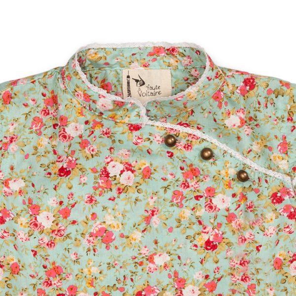 blouse chinoise manches courtes avec col Mao été fille en coton fleuri liberty vert eau et rouge pour petites filles et ados de 2 à 16 ans