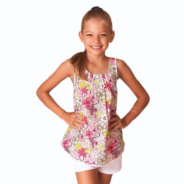 Blouse d'été en coton liberty fleuri rouge et multicouleurs bordé de fine dentelle blanche avec bretelles croisées dans le dos pour filles de 2 à 14 ans