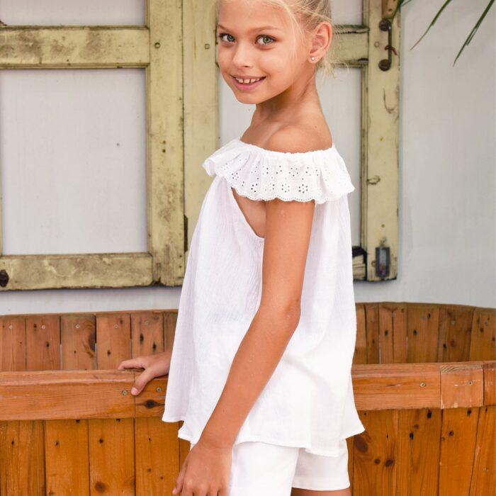 Blouse d'été bohème en coton blanc avec col élastique en broderie anglaise pour filles de 2 à 14 ans