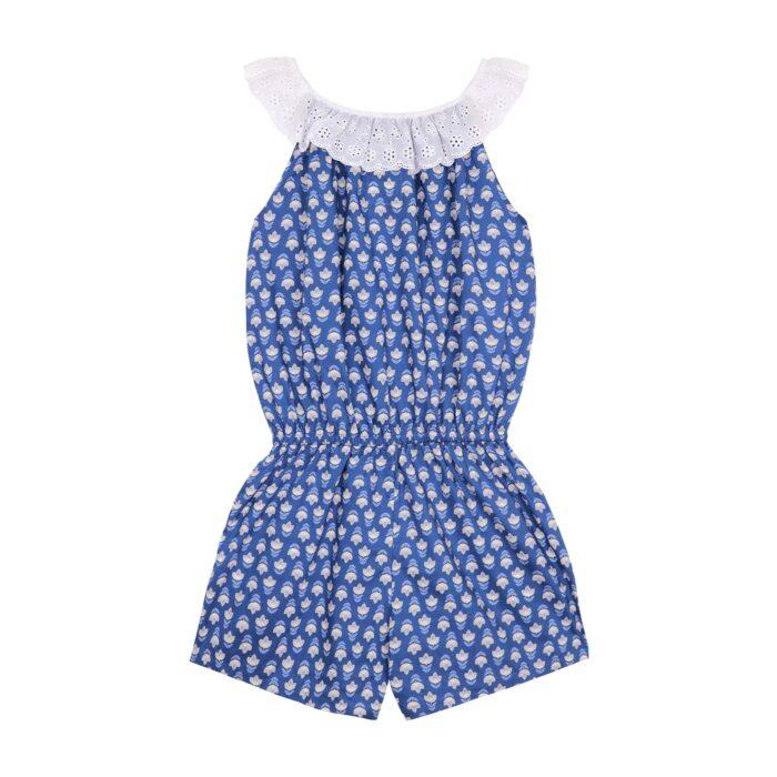 Combishort d'été en coton bleu roi à imprimés graphiques jaune avec col 2-en-1 en broderie anglaise blanche et poches pour filles de 2 à 14 ans