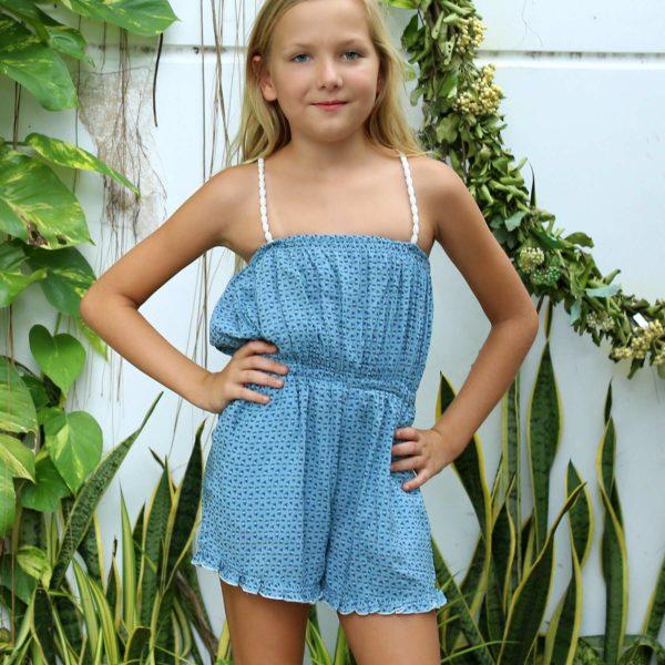 combishort verte fleuri bleu à col et taille élastique avec bretelles extensibles pour filles de 2 à 14 ans