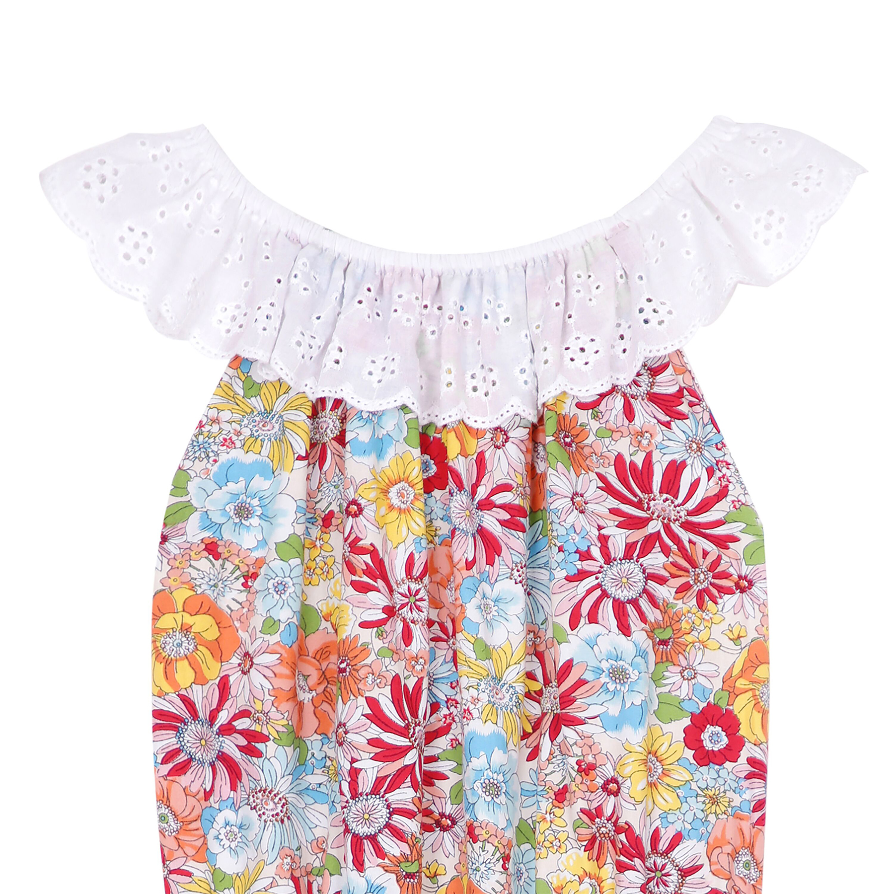 Combishort d'été en coton rouge et fleurs liberty avec col 2-en-1 en broderie anglaise blanche et poches pour filles de 2 à 14 ans