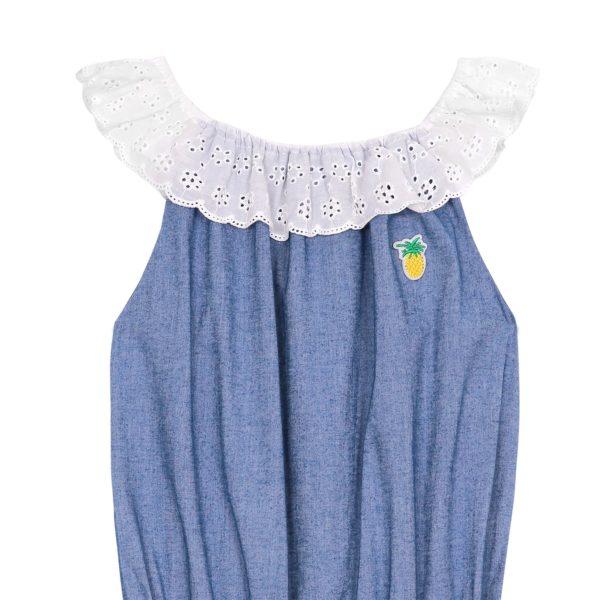 combishort été fille en coton denim bleu clair, col élastique en broderie anglaise blanche, écusson ananas jaune sur la poitrine, pour petites filles de 2 à 16 ans