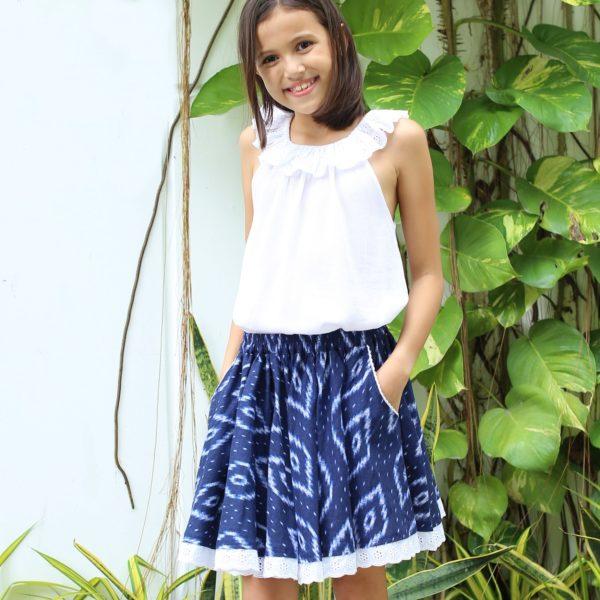 Jupe qui tourne en coton fleurI tie and dye bleu marine pour filles de 2 à 14 ans