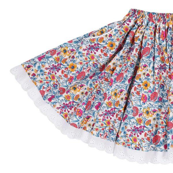 Jupe qui tourne en coton fleuri liberty et broderie anglaise blanche pour petites filles de 2 à 14 ans