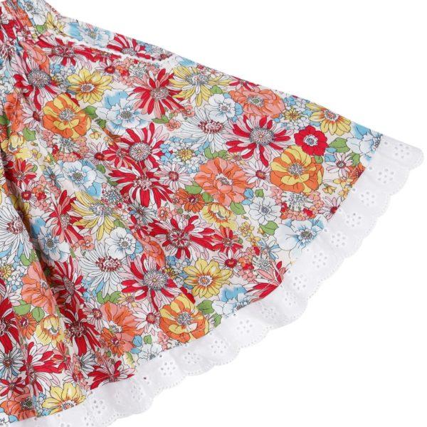 jupe qui tourne en coton liberty fleuri multicolore, rose, rouge, vert et broderies anglaises, taille élastique, pour petites filles de 2 à 16 ans