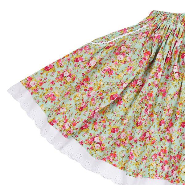 Jupe d'été mi-longue pour filles de 2 à 14 ans en coton fleuri liberty vert avec taille élastique et bordure en broderie anglaise blanche