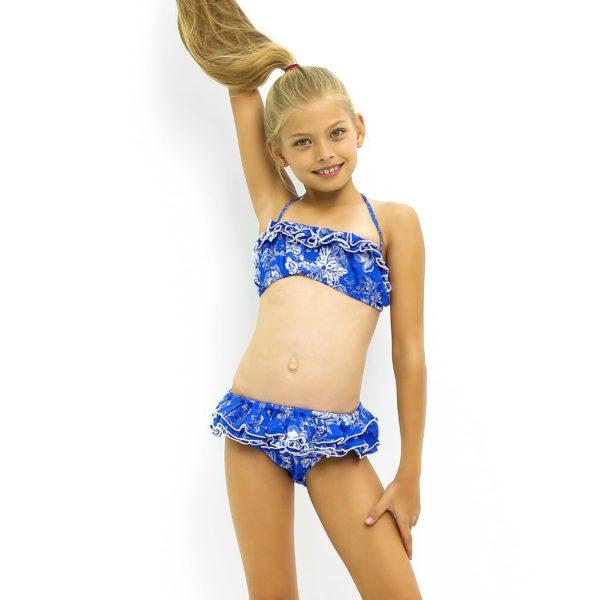 Maillot de bain bikini 2 pièces en coton fleuri bleu royal avec volants et bretelles pour filles de 2 à 14 ans