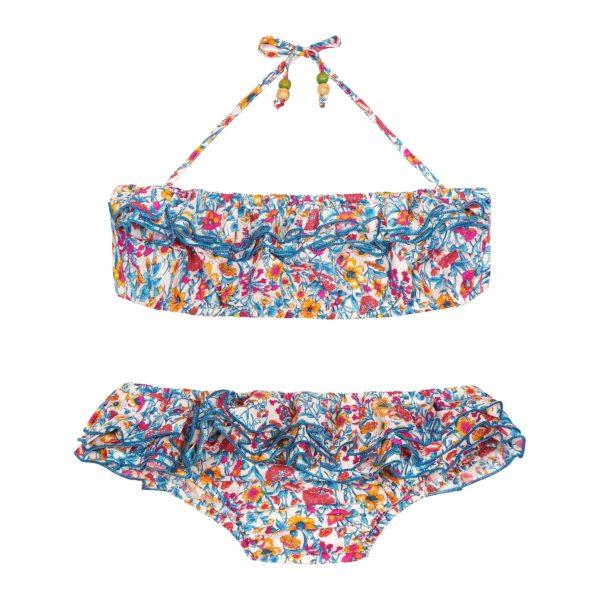 Maillot de bain bikini 2 pièces en coton fleuri liberty bleu rouge jaune et rose avec volants et bretelles pour filles de 2 à 14 ans