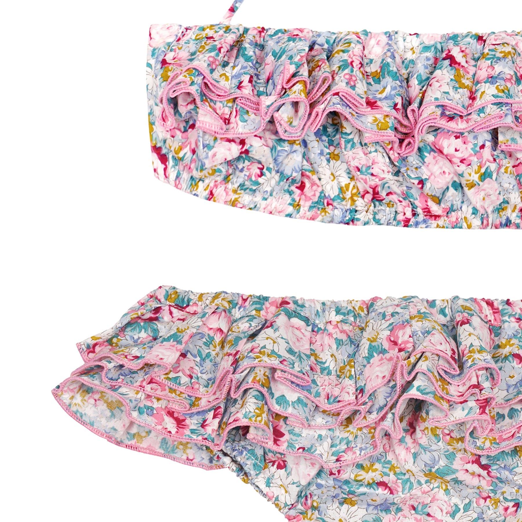 Maillot de bain bikini 2 pièces en coton fleuri liberty rose et bleu pâle avec volants et bretelles pour filles de 2 à 14 ans
