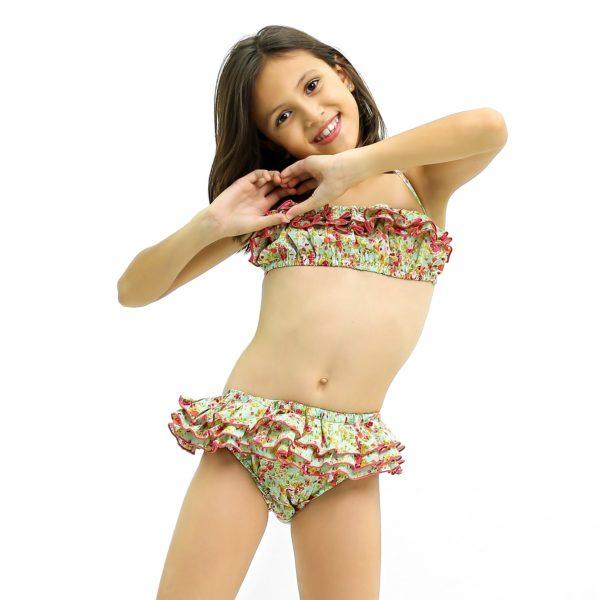 Maillot de bain bikini 2 pièces en coton fleuri liberty vert et rose avec volants et bretelles pour filles de 2 à 14 ans