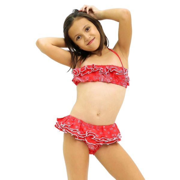Maillot de bain bikini 2 pièces en coton rouge imprimé paisley avec volants et bretelles pour filles de 2 à 14 ans