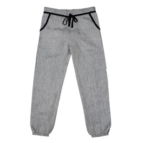 Pantalon cargo en lin gris contrasté noir avec taille élastique et poches pour garçons de 2 à 12 ans