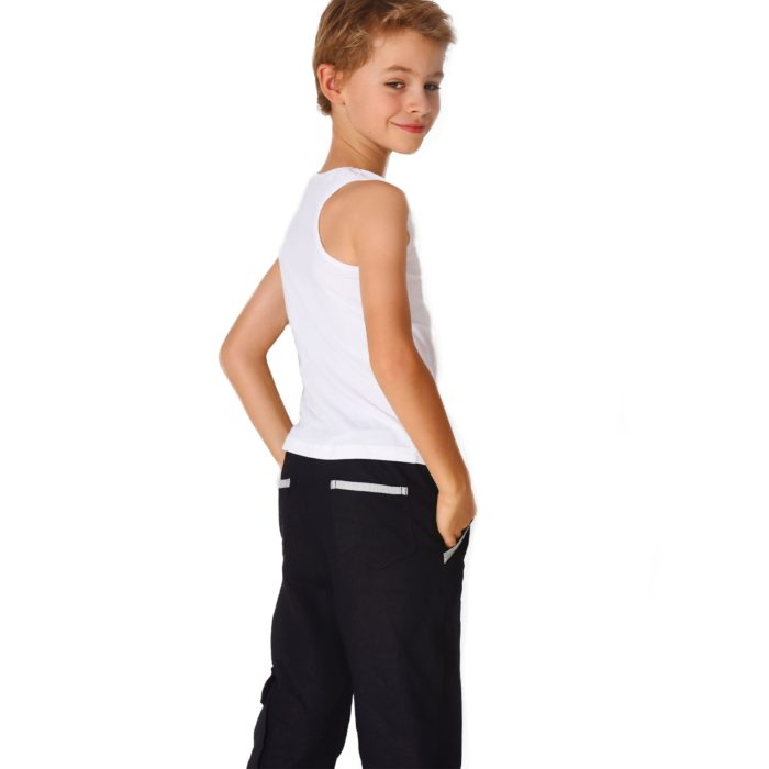 Pantalon cargo en lin noir contrasté blanc avec taille élastique et poches pour garçons de 2 à 12 ans