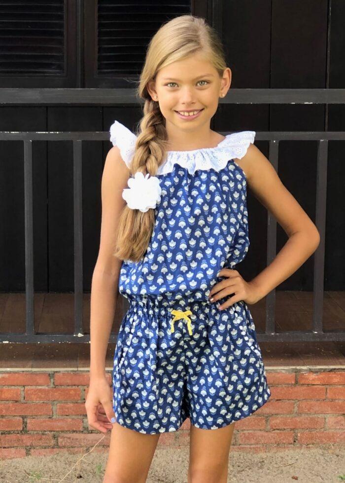 Combishort été en coton bleu roi à imprimés graphiques jaune avec col 2-en-1 en broderie anglaise blanche et poches pour filles de 2 à 14 ans