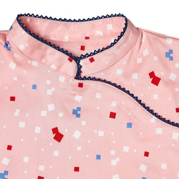 Robe chinoise pour filles de 2 à 14 ans rose abricot à imprimés graphiques et dentelle bleue marine