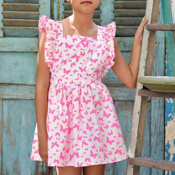 Robe patineuse rose imprimés papillons roses avec taille froncée et manches à volants pour filles de 2 à 14 ans
