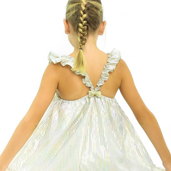 Robe de fêtes et cérémonies à rayures dorées et argents avec bretelles croisées dans le dos pour filles de 2 à 12 ans