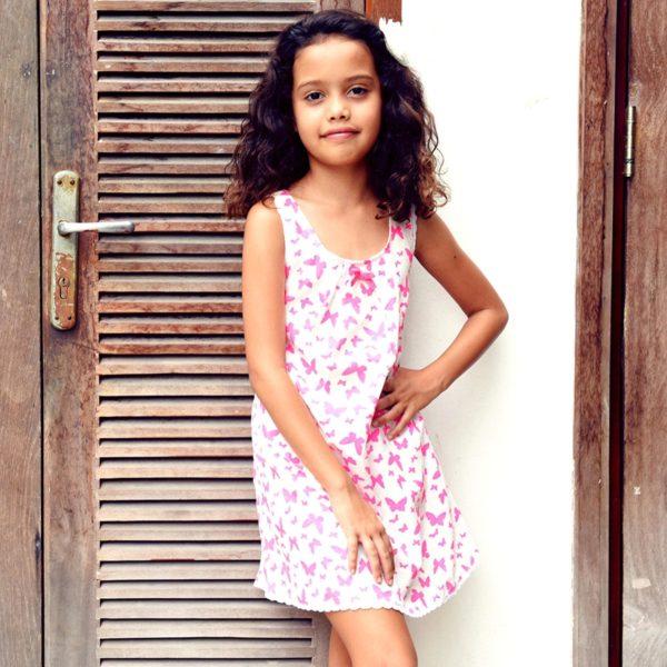 Robe blanche imprimés papillons roses bonbon et bretelles croisées pour filles de 2 à 14 ans