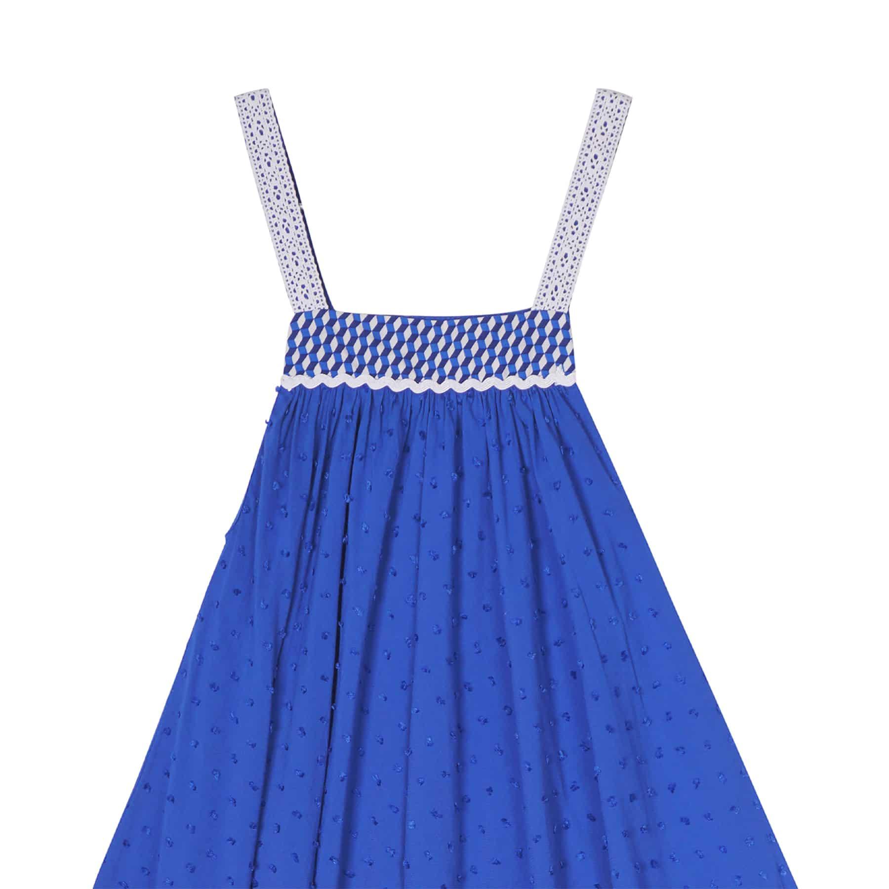 Robe longue en voile de coton bleu roi avec bretelles bordées de dentelle blanche et bustier graphique pour filles de 2 à 14 ans