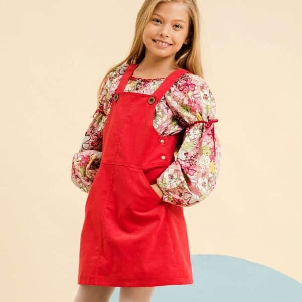 robe salopette en velours rouge pour petites filles et adolescentes de 2 à 14 ans de la marque de mode pour enfant de LA FAUTE A VOLTAIRE