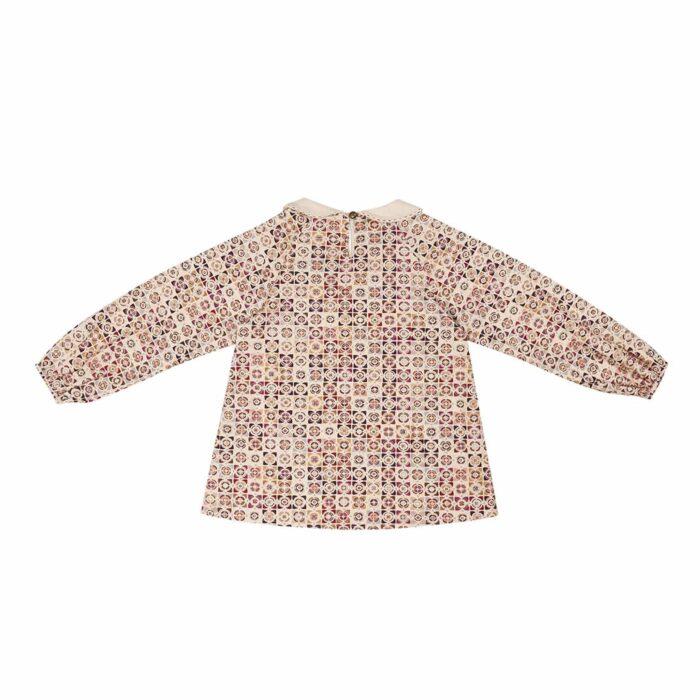 Blouse intersaison col Claudine en coton imprimé graphique beige et bordeaux pour filles de 2 à 12 ans