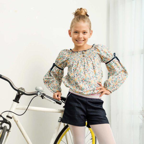 Ensemble blouse fleurie liberty jaune et short en jean denim bleu pour filles de 2 à 14 ans