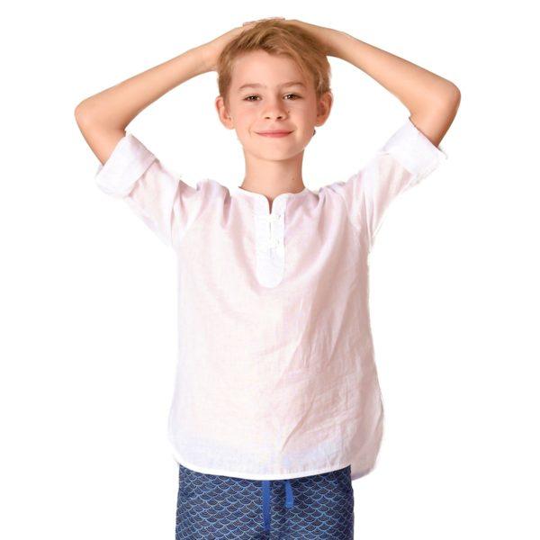chemise légère blanche à col rond et manches longues en voile de coton blanc pour garçon de 2 à 14 ans