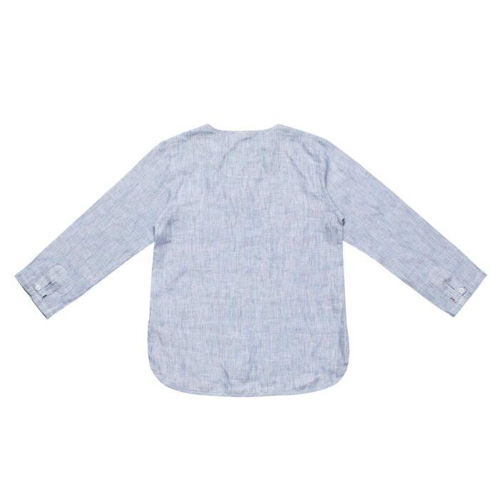 Chemise liquette légère en voile de coton rayé bleu et blanc avec col rond boutonné pour garçons de 2 à 14 ans