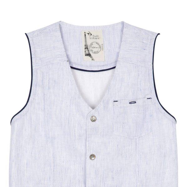 Gilet de costume habillé sans manches en coton rayé bleu avec martingale dans le dos pour garçons de 2 à 14 ans