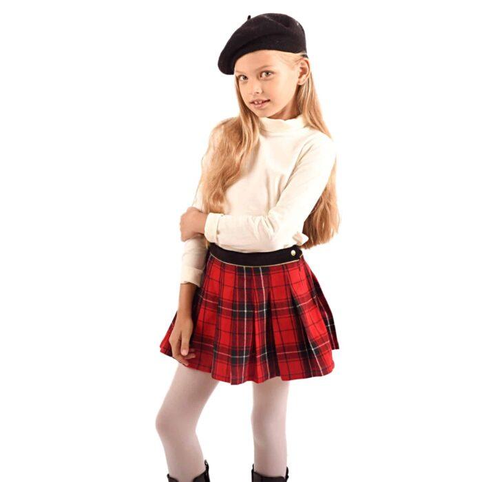 jupe plissée en laine carreaux tartan rouge avec ceinture velours noir bordé de biais doré pour filles de 2 à 12 ans